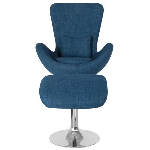 Blue Fabric Side Reception Chair with Ottoman