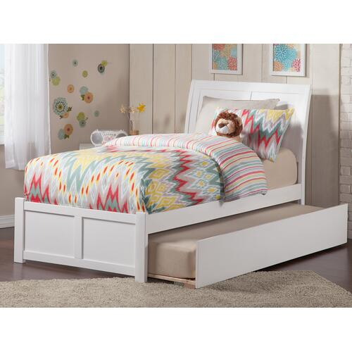 Portland Twin Flat Panel Foot Board with Urban Trundle White