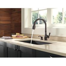 Venetian Bronze Single Handle Pull-Down Kitchen Faucet with Soap Dispenser and ShieldSpray