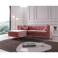 Divani Casa Rachel Modern Pink Velvet Sectional Sofa