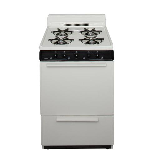 View Product - 24 in. Freestanding Battery-Generated Spark Ignition Gas Range in Biscuit
