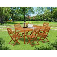 This 7 Pc Acacia Hardwood Patio area Sets includes a single Outdoor-Furniture table and 4 side foldable chairs plus 2 arm foldable Outdoor-Furniture chairs