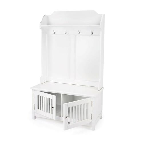 This delightful hall tree boasts abundant storage for jackets, scarves, handbags and more. Its classic cottage appearance is elevated by a crisp white finish and polished aluminum hooks and door pulls. It is crafted from mahogany and rubberwood solids with a convenient bench seat to put on and take off your shoes, and it boasts a top shelf to place smaller items like keys or a wallet and a storage cabinet behind each door below for bulkier items.