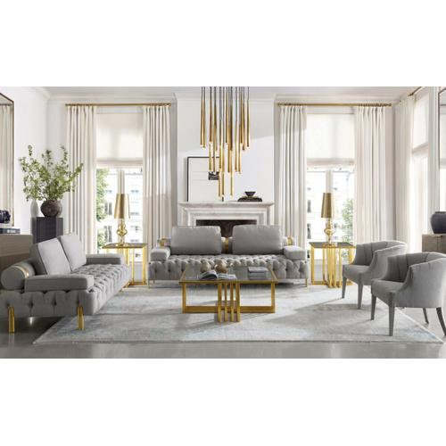 VIG Furniture - Modrest Kodiak - Glam Clear Glass and Gold Glass End Table