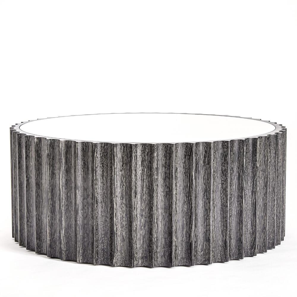 See Details - Reflective Column Cocktail Table-Black Cerused Oak