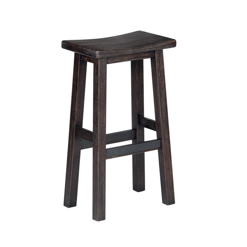 Hand Distressed Saddle Bar Stool in Stout