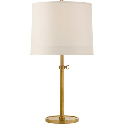 Barbara Barry Simple 26 inch 150 watt Soft Brass Adjustable Table Lamp Portable Light in Silk Banded
