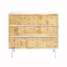 Burlwood 3 Drawer Chest With Silver Leaf Hardware & Base Beveled Mirror Inset Top