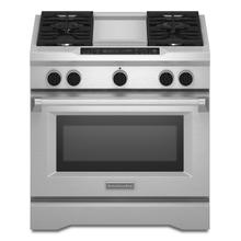 See Details - 36'' 4-Burner with Griddle, Dual Fuel Freestanding Range, Commercial-Style Stainless Steel
