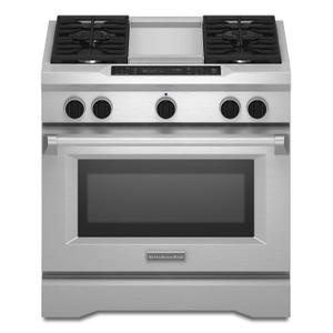 36'' 4-Burner with Griddle, Dual Fuel Freestanding Range, Commercial-Style Stainless Steel - STAINLESS STEEL