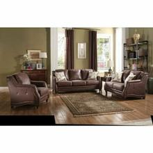 ACME Nickolas Loveseat w/2 Pillows - 52066 - Chocolate Polished Microfiber