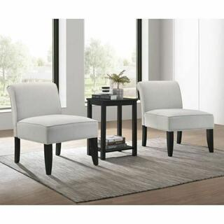 ACME Genesis II 3Pc Pack Chair & Table - 59843 - Cloud Gray Linen & Black