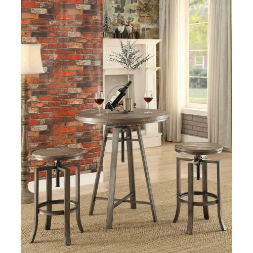 Industrial Walnut Adjustable Bar Stool