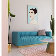 View Product - Divani Casa Oneida Modern Blue Velvet Sofa