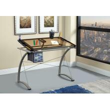 See Details - Contemporary Glass Top Drafting Desk