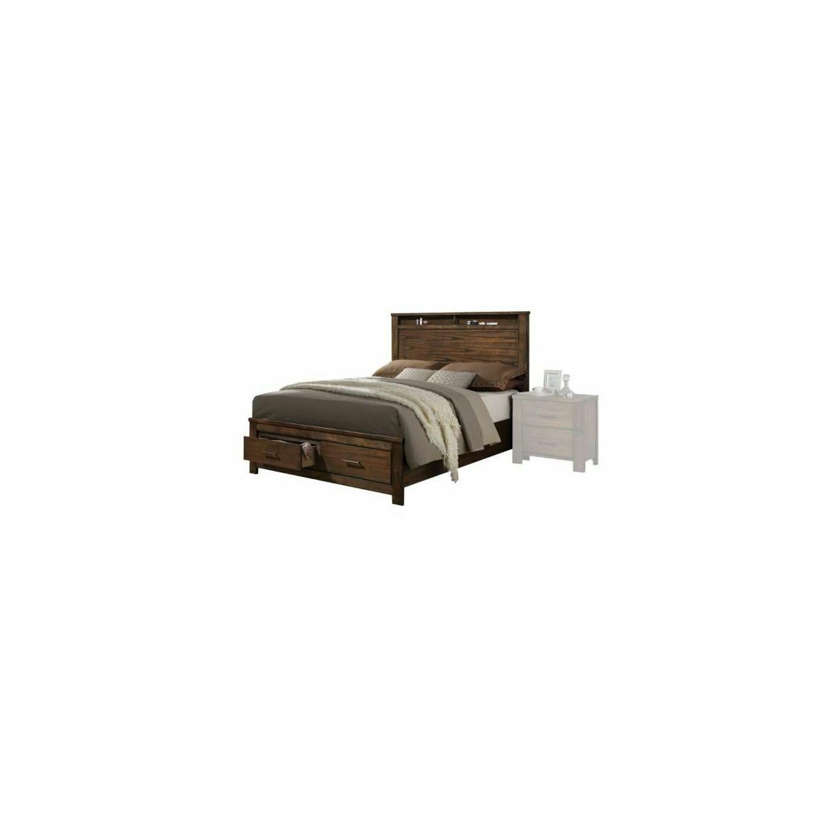 ACME Merrilee Eastern King Bed w/Storage - 21677EK - Oak