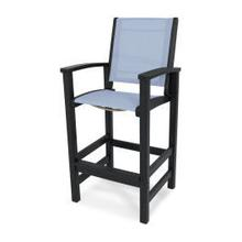 View Product - Coastal Bar Chair in Black / Poolside Sling