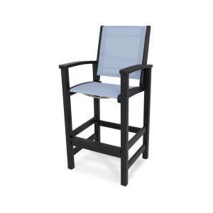 Polywood Furnishings - Coastal Bar Chair in Black / Poolside Sling