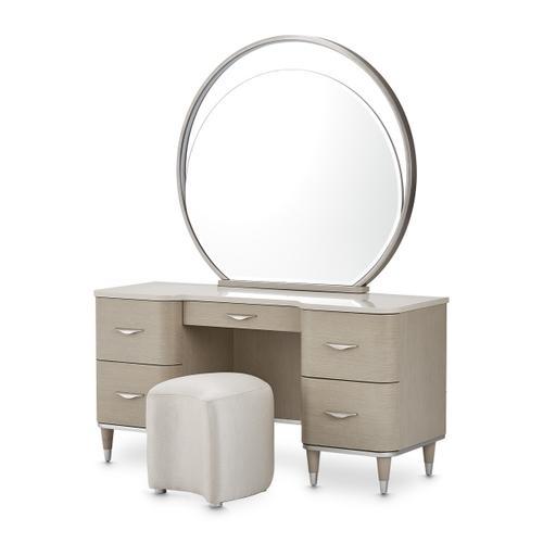 Amini - Vanity Desk Mirror & Stool 3 PC