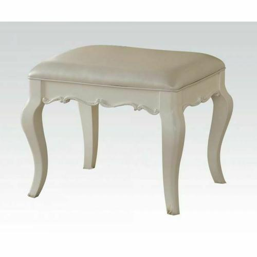 ACME Edalene Vanity Stool - 30519 - Pearl White