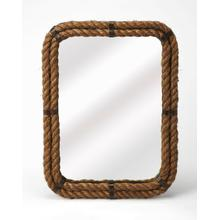See Details - A rather unique piece, this rectangle wall mirror's iron frame is covered with rustic rope. Great for nautical spaces, entryways, bathrooms, or anywhere you want to feel the peaceful seaside.