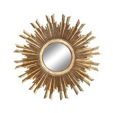 """See Details - 35-1/2"""" Round MDF Sunburst Mirror, Gold Finish"""
