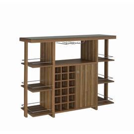 See Details - Modern Walnut Bar Unit With Wine Bottle Storage