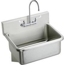 """See Details - Elkay Stainless Steel 25"""" x 19.5"""" x 10-1/2"""", Wall Hung Single Bowl Hand Wash Sink Kit"""