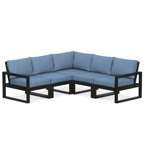 Polywood Furnishings - EDGE 5-Piece Modular Deep Seating Set in Black / Sky Blue