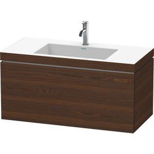 Furniture Washbasin C-bonded With Vanity Wall-mounted, Brushed Walnut (real Wood Veneer)