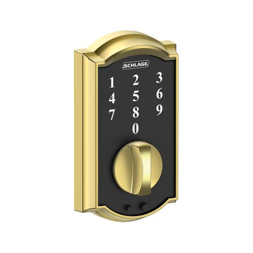 Schlage - Schlage Touch Keyless Touchscreen Deadbolt with Camelot trim paired with Camelot Handleset and Flair Lever with Camelot trim - Bright Brass