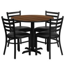 36'' Round Walnut Laminate Table Set with 4 Ladder Back Metal Chairs - Black Vinyl Seat