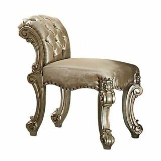 ACME Vendome Vanity Stool - 23008 - Fabric - Gold Patina & Bone