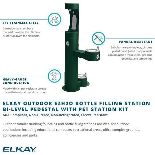 Elkay - Elkay Outdoor ezH2O Bottle Filling Station, Bi-Level Pedestal with Pet Station NonFilter, NonRefrige FreezeResist Orange