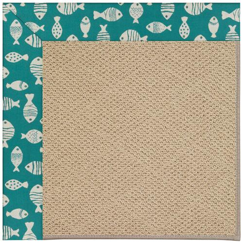 Creative Concepts-Cane Wicker Go Fish Turquoise Machine Tufted Rugs