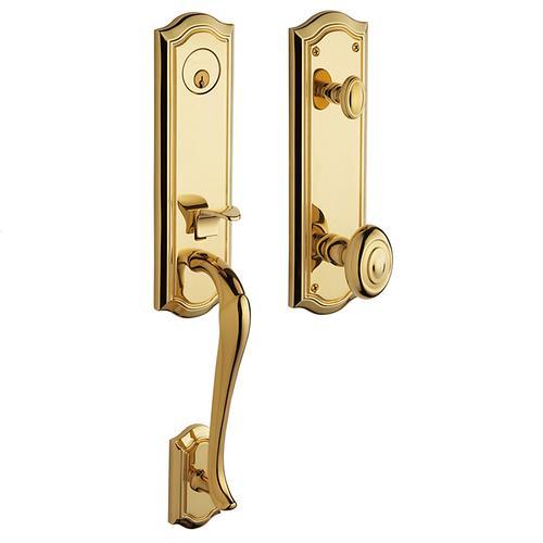 Baldwin - Lifetime Polished Brass Bethpage Handleset