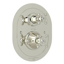 Georgian Era Oval Thermostatic Trim Plate with Volume Control - Polished Nickel with Cross Handle