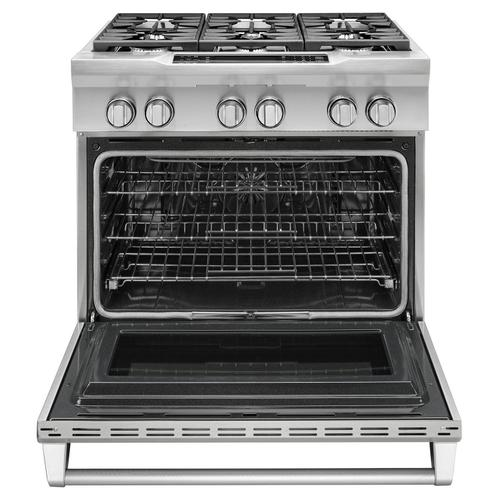 36'' 6-Burner Dual Fuel Freestanding Range, Commercial-Style Stainless Steel