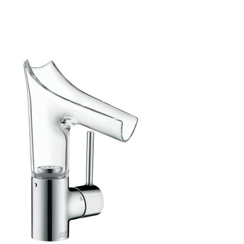 Chrome Single lever basin mixer 140 with glass spout, lever handle and waste set