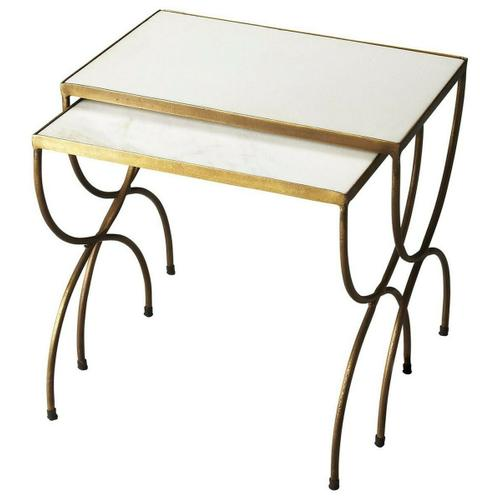 The crafty metal legs of the Bacchus nesting tables bring a simple, yet elegant touch of design to the minimalistic marble top. The golden hue of the iron legs brings just enough color for these tables to look good in any room.
