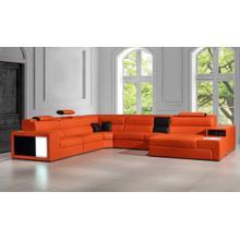 See Details - Divani Casa Polaris - Contemporary Orange Leather U Shaped Sectional Sofa with Lights