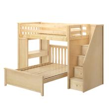 See Details - All in One Staircase Loft Bed Study + Full Bed Natural