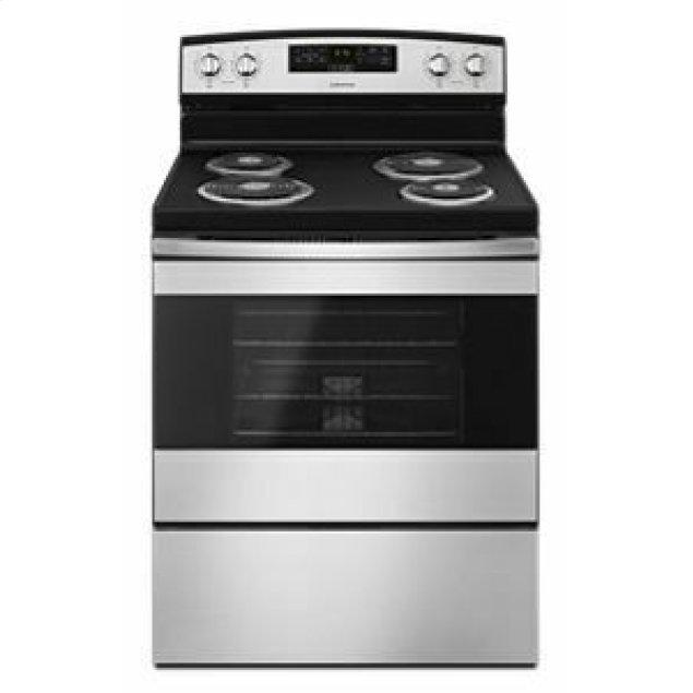 Amana 30-inch Electric Range with Bake Assist Temps - Black-on-Stainless