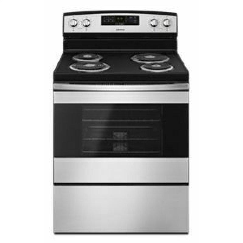 30-inch Electric Range with Bake Assist Temps - Black-on-Stainless