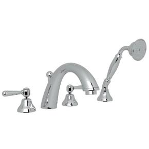 Verona 4-Hole Deck Mount C-Spout Tub Filler with Handshower - Polished Chrome with Metal Lever Handle