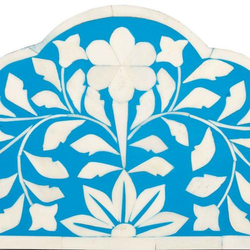 This magnificent Wall Mirror features sophisticated artistry and consummate craftsmanship. The botanic patterns covering the piece are created from white bone inlays cut and individually applied in a sea of blue by the hands of a skillful artisan. No two mirrors are ever exactly alike, ensuring this piece will hang as a bonafide original.