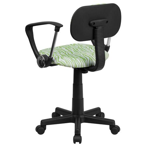 Alamont Furniture - Green and White Zebra Print Swivel Task Chair with Arms