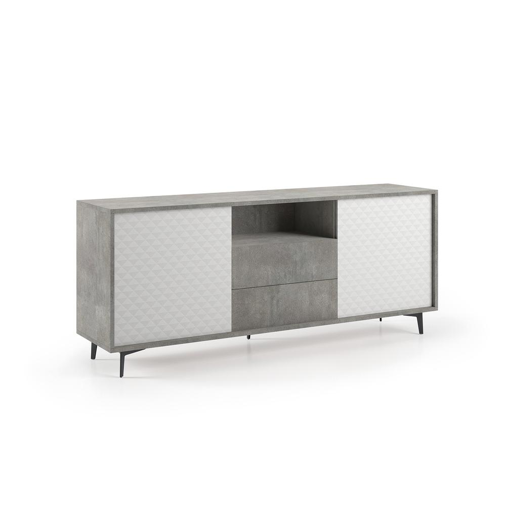 The Cameron Buffet-server Part Of Our Kd Collection In Concrete Gray Melamine Frame With White Pattern Melamine Doors