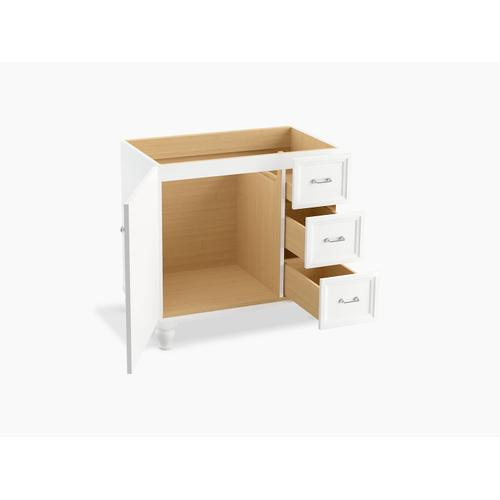 "Linen White 36"" Bathroom Vanity Cabinet With Furniture Legs, 1 Door and 3 Drawers On Right"