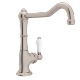Cinquanta Single Hole Column Spout Kitchen Faucet with Extended Spout - Satin Nickel with White Porcelain Lever Handle